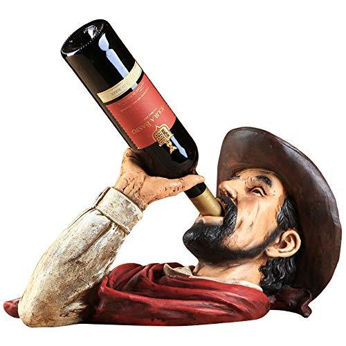 ZRZJBX Soporte De Botella De Vino Europeo, Botella De Cerveza, Artesanía De Resina, Estante para Vino, Decoración Nórdica para El Hogar para El Hogar Vintage, Miniaturas De Figuras