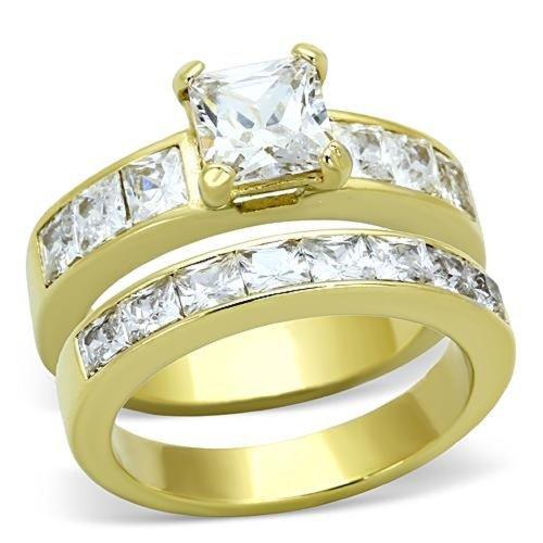 Doublebeez Jewelry Yellow Gold IP Stainless Steel Square Cubic Zirconia...