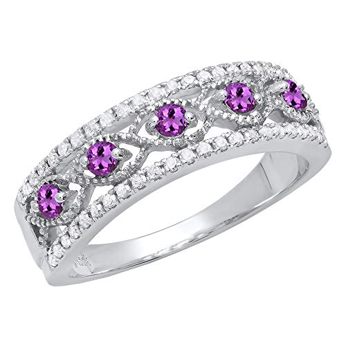 Dazzlingrock Collection Sterling Silver Round Amethyst & White Diamond Ladies Anniversary Wedding Band, Size 7