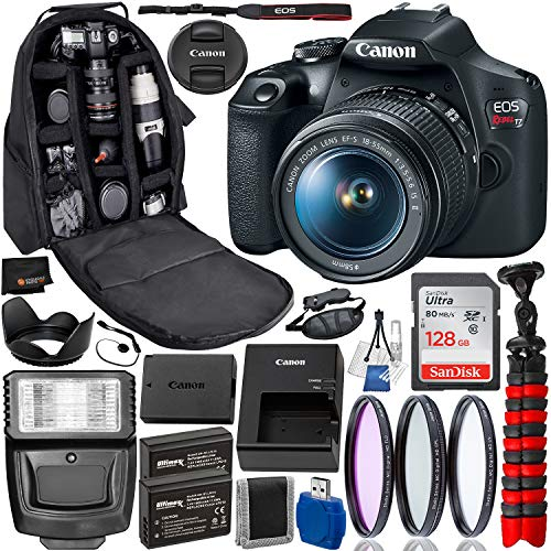 Canon EOS Rebel T7 DSLR Camera with 18-55mm Lens Professional Bundle Package Deal - USA Warranty - SanDisk Ultra 128GB SDXC Memory Card + Water-Resistant Professional Backpack + More