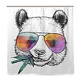 BALII Bali Duschvorhang mit Panda-Motiv, 183 x 183 cm, Polyester, wasserdicht, mit 12 Haken für Badezimmer