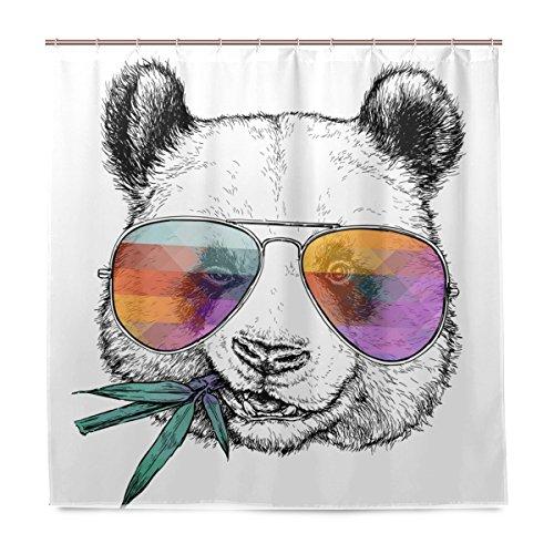 Bali Duschvorhang mit Panda-Motiv, 183 x 183 cm, Polyester, wasserdicht, mit 12 Haken für Badezimmer