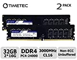 Timetec Extreme Performance Hynix IC 32GB KIT(2x16GB) DDR4 3000MHz PC4-24000 CL16 1.35V Unbuffered NonECC for Gaming and High-Performance Compatible with AMD and Intel Desktop Memory(32GB KIT(2x16GB))