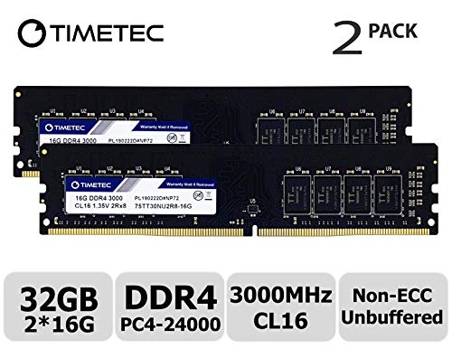 Timetec Extreme Performance Hynix IC DDR4 3000MHz PC4-24000 CL16 1.35V Unbuffered Non-ECC Single Rank Designed for Gaming and High-Performance Compatible with AMD and Intel(32GB(16GBx2))