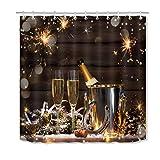 ijiashunf Weihnachts Champagner Feuerwerk Duschvorhang Antibakterieller leicht zu reinigender Duschvorhang