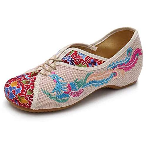 Embroidered Chinese Style Embroidery Flats Ballet Crafts Womens Shoes Red White Black