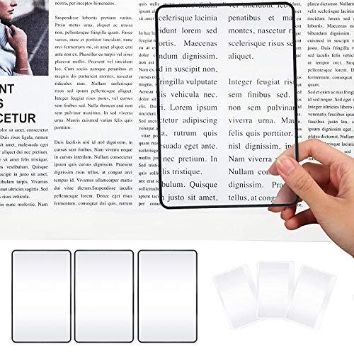 LATTCURE Leselupe, 6 Stücke Kunststff Leselupe Objektiv Leselupe Set Enthalten 3x große Leselupe DIN A4 groß Lesehilfe für Senioren Kinder Bücher Zeitung Landkarten