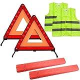 Warning Triangle Kit, Foldable Safety Triangle Kit Car Emergency Roadside Kit with Warning Triangle,Reflective Safety Vest and Storage Case
