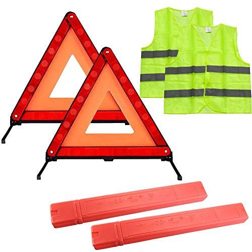 TourKing Kit de triángulo de Advertencia Kit de triángulo de Seguridad Plegable Kit de Emergencia para automóvil con triángulo de Advertencia y Chaleco Reflectante de Seguridad