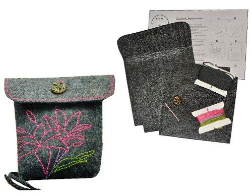 alles-meine.de GmbH Bastelset: für Filztasche -  Blumen & Blüten - grau  - zum Sticken, Nähen per Hand - Tragetasche Tasche mit Blumen Blüten grau Handarbeiten - Nähset
