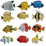 fedsjuihyg Decorativo Jardín Accesorios 12pcs Creativo Modelo Multi Fish Fish Uso Figura Set de Juegos táctiles del Verdadero Peces Artificiales