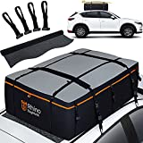 bagmate Military-Grade Waterproof Roof Bag - Rooftop Cargo Carrier – XXL 23 Cubic Feet. with 4 Door Hooks, Zipper/Buckle Closure, Extra Strap – Black Roof Bag for Cars with or Without Rack