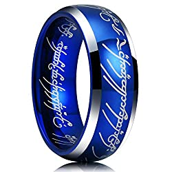 powerful King Will Magic 7mm Tungsten Carbide Wedding Ring Sapphire Blue Lord of the Rings Comfortable Fit…