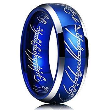 King Will Magic 7mm Tungsten Carbide Wedding Band Blue Comfort Fit Highly Polished 8