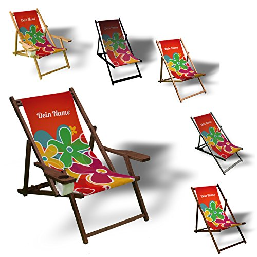 Printalio - Wunschtext - Prilblumen - Liegestuhl Bedruckt Balkon Garten Sonnenliege Relax Holz Terrasse | mit Armlehne, Dunkelbraun