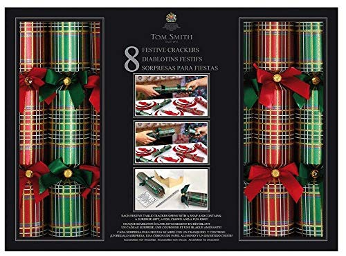 """Tom Smith -Festive Red & Green Holiday Crackers - Pack of 8-13-1/2"""" x 2""""- Each Containing a Surprise Gift, a foil Crown and a Fun Joke!"""