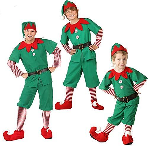 LUOWAN Disfraz de Navidad para Hombre Disfraz de Elfo navideño Disfraz y Sombrero de Elfo navideño (135-145cm)