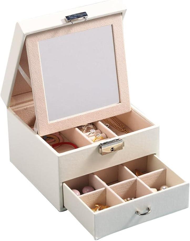 Anbiratlesn San Jose Mall Inexpensive Jewelry Box for Women Leather 2 Jewe Lockable Layers