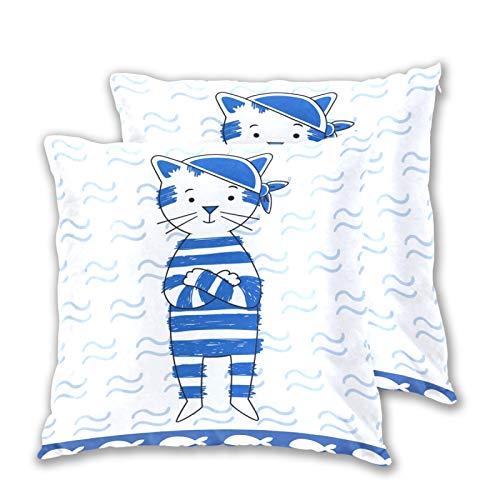 Emoya Juego de 2 fundas de cojín decorativas, diseño de gato pirata, diseño cuadrado, 45 cm x 45 cm