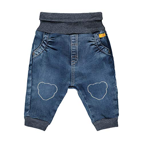 Steiff Baby-Mädchen mit süßer Teddybärapplikation Jeanshose, Blue Indigo, 074