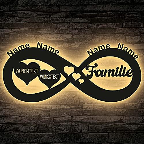 Familie neu Deko LED Schlummerlicht Nachtlicht vier Namen Unendlichkeit, Herzchen Unendlichkeitszeichen personalisiert mit Wunschtext - Schlafzimmer Wohnzimmer Geschenk Infinity