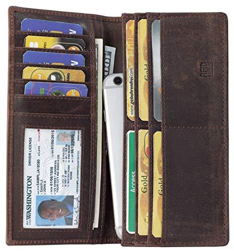 Mou Meraki RFID Blocking Brown Mens genuine leather Bifold Long Wallet