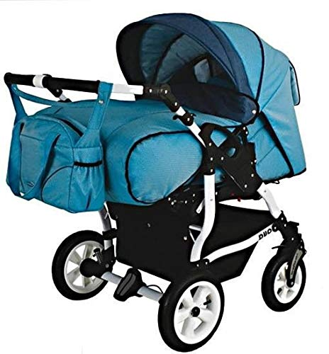 Adbor Duo Spezial Zwillingskinderwagen mit Babyschalen, Zwillingswagen, Zwillingsbuggy Farbe D-6 blau