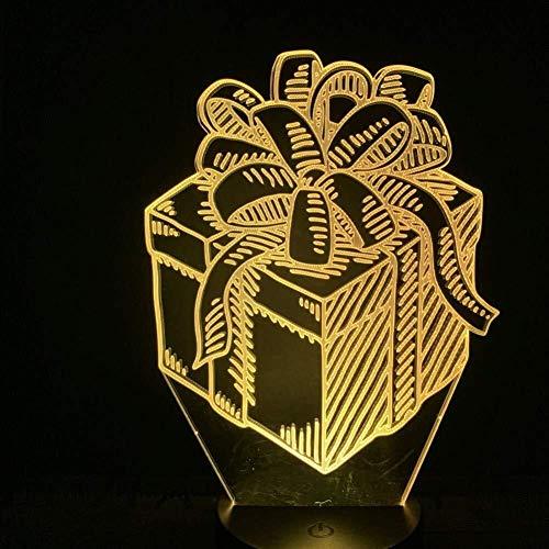 Lampe Illusion 3D Chambre Bureau Bureau boîte-cadeau avec bowknot joli cadeau décoratif Led USB avec capteur enfants Festival de Maître de chevet Veilleuse lumière de nuit