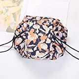 Magic Cosmetic Pouch Bag Drawstring, Makeup Organizer Bag, Fashion Portable Magic Toiletry Kit Organizer Round for Ladies and Girls Outdoor Travel Cosmetic Storage (E)