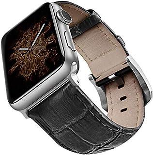 Viva Madrid Strap Genuine Grain Leather Croc Noir for Apple Watch Series 1,2,3 & 4 - Black & Silver