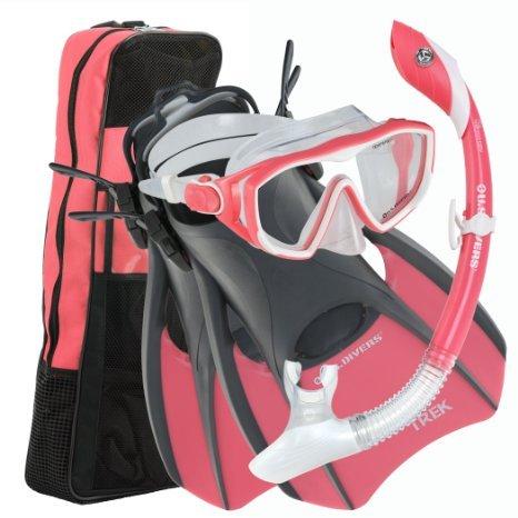 U.S. Divers Diva 1 LX/Island Dry LX/Trek/Travel Bag Combo, Coral, Medium (8-11)