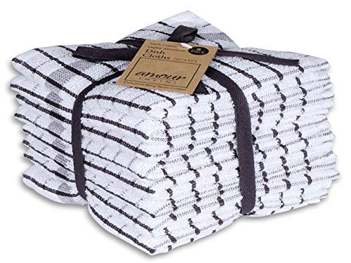 AMOUR INFINI Grid Terry Dish Cloth | Set of 8 | 12 x 12 Inches | Low...