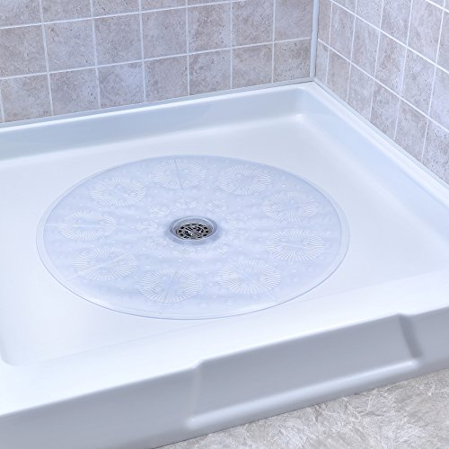 """SlipX Solutions Clear Round Shower Stall Mat Provides Reliable Slip-Resistance (23"""" Sides, 160+ Suction Cups, Great Drainage)"""