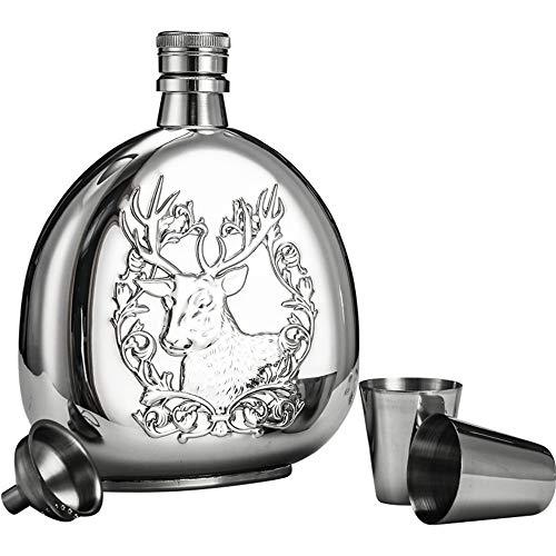 Panjianlin Hip Flask Hip Flask for Alkohol Weihwasser Flasche 6 Unzen Edelstahl mit Trichtern Discrete Schuss Alkoholkonsum Whisky Rum und Wodka for Männer und Frauen Hand Held und mach 'weiter