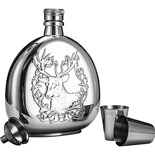 Portable Heupfles Grappige Gift Jiusheng Flagon 6 Oz roestvrij staal Water Bottle Funnel Alcohol Whiskey rum en wodka Uitstekend Gevoel en Textuur (Color : As picture, Size : Free size)