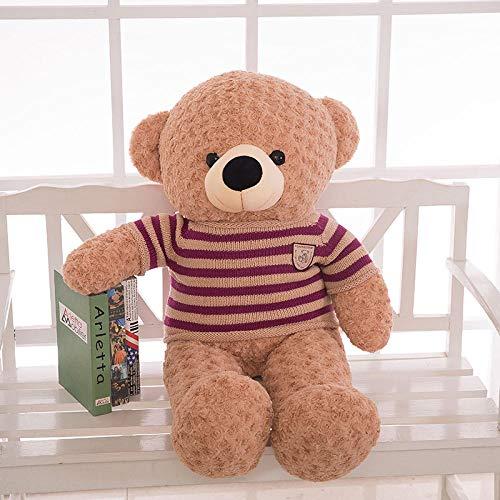 Pluche Grote Teddybeer Zachte Lappenpop Zachte Pluche Knuffel Speelgoed Vlinderdas Trui Beerpop-Paars Gestreept Lichtbruin Bear_150cm