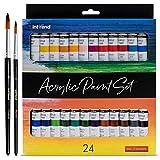 int!rend Colori acrilici - 24 tubetti acrilici da 12ml + 2 pennelli | Pittura acrilica per Carta, Legno, Tela, Argilla, Pietre, Gesso, Arte e modellismo