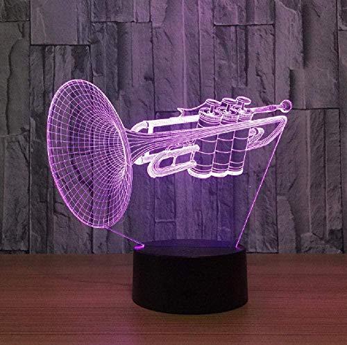 Instrumento trompeta 3D Led luz de noche que cambia la lámpara de mesa de escritorio instrumentos musicales artículos de decoración decoración del hogar