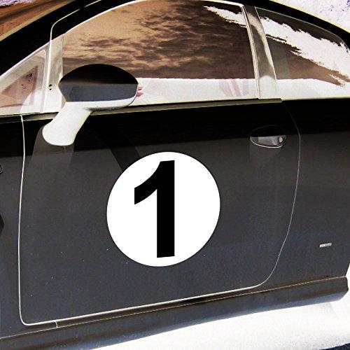 2 Aufkleber 20cm Sticker Startnummer Startnummern Racing Auto Start Nummer Zahl Ziffer Tor Halle Garage Werkstatt Müllkontainer (Startnummer 1)
