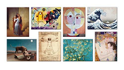 LuxHomeDecor Cuadros Famosos 8 Piezas 40 x 30 cm Impresión sobre Lienzo con Marco de Madera Hayez Kandinsky Klee Hokusai Leonardo da Vinci Van Gogh Klimt Rousseau