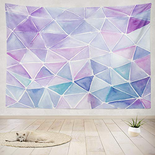 Purple Tapestry,ONELZ Light Purple Tapestry Triangle Watercolor Artwork Violet and Lilac Color Water Lavender Tapestry Wall Tapestry for Bedroom Minimalist Tapestry 60 L x 80 W,Purple Tapestry