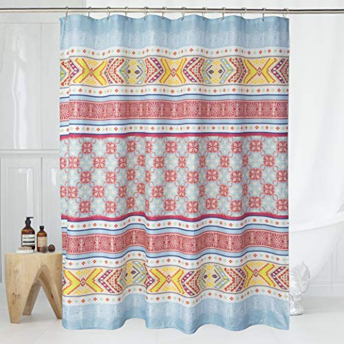 """Exclusivo Mezcla Fabric Boho Shower Curtain Set with 12 Hooks for Bathroom, Waterproof and Machine Washable - 72"""" X 72"""", Pink and Blue"""