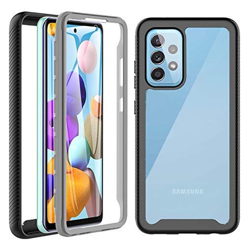 Kompatibel mit Samsung Galaxy A52 Hülle, A52s/A52 5G Hülle 360 Grad Case Stoßfest Schutzhülle Rundumschutz mit Displayschutz und Silikon TPU Kratzfest Bumper Handyhülle für Samsung A52/A52s 5G Schwarz