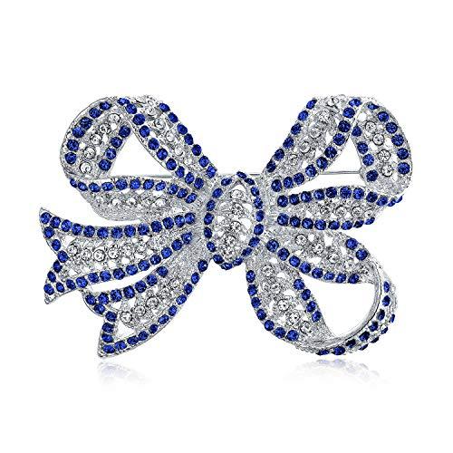 Viktorianischen Vintage-Stil Winter Hochzeit Urlaub Royal Blau weiß Glitzern Denkkristall Braut Mode große Aussage filigranband Schleife Schleife Schal Brosche Pin für Frauen Silber vergoldet