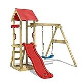 WICKEY Aire de jeux Portique bois TinyWave avec balançoire et toboggan rouge, Maison enfant exterieur avec bac à sable, échelle d'escalade & accessoires de jeux
