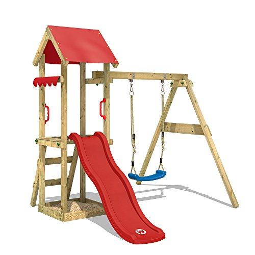 Wickey speelplaats TinyWave klimtoren, speelhuis met glijbaan en schommel, zandbak en klimladder, rode glijbaan + afdekzeil rood