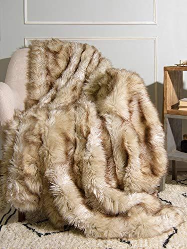 Best Home Fashion Champagne Fox Faux Fur Full Throw Blanket - 58