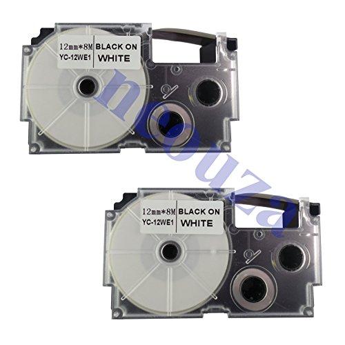 Neouza - Nastro adesivo compatibile con Casio EZ-Label, 12 mm x 8 m, 1/2' x 26 m, colore: Nero su bianco) (XR-12WE XR-12WE1 XR-12WE2S