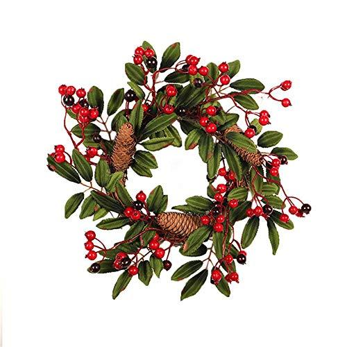 WACPXJH Ghirlanda di Bacche Artificiali in Schiuma con Decoro a Cono di Pino Naturale Decorazione da Parete Corona da 40 cm Decorazione Porta Ghirlanda di Natale