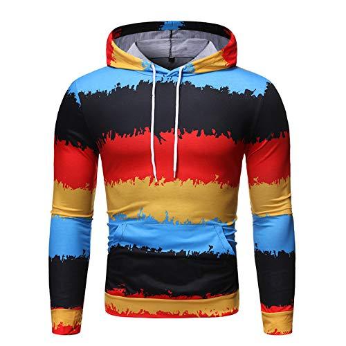 HOSD Capucha Hombre Casual Top Deportiva con Estampado para Suéter de Hombre suéter para Manga para Estampado Hombre Larga